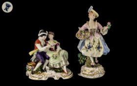 Naples Style Figure of a Flower Seller, dressed in elegant attire, on a gilt, shaped base,