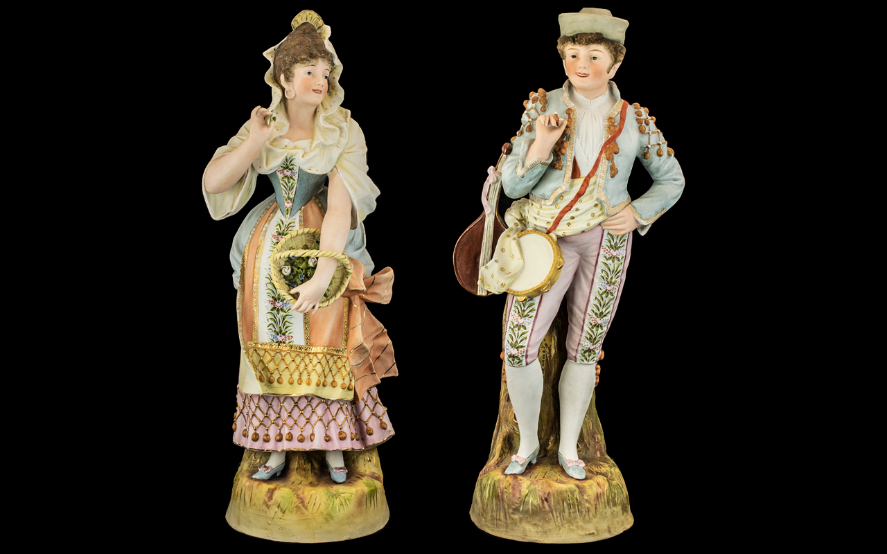 German Late 19th Century Pair of Tall and Impressive Hand Painted Bisque Figures of Large