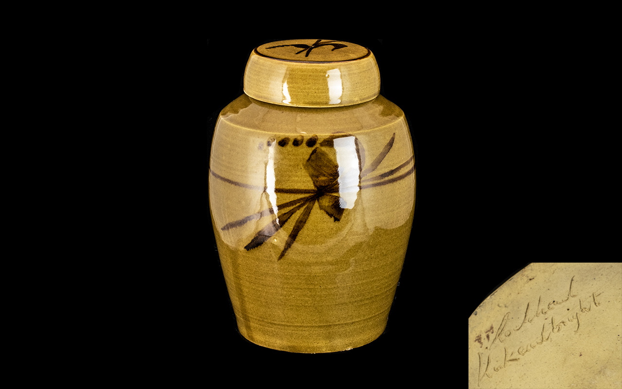 Wilson Lochhead Pottery Jar with Lid. Signed to base, highly glazed pottery measures 9'' tall. Small
