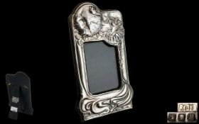 Art Deco Period Stunning Sterling Silver Shaped Photo Frame with Stylised High Decoration to Front