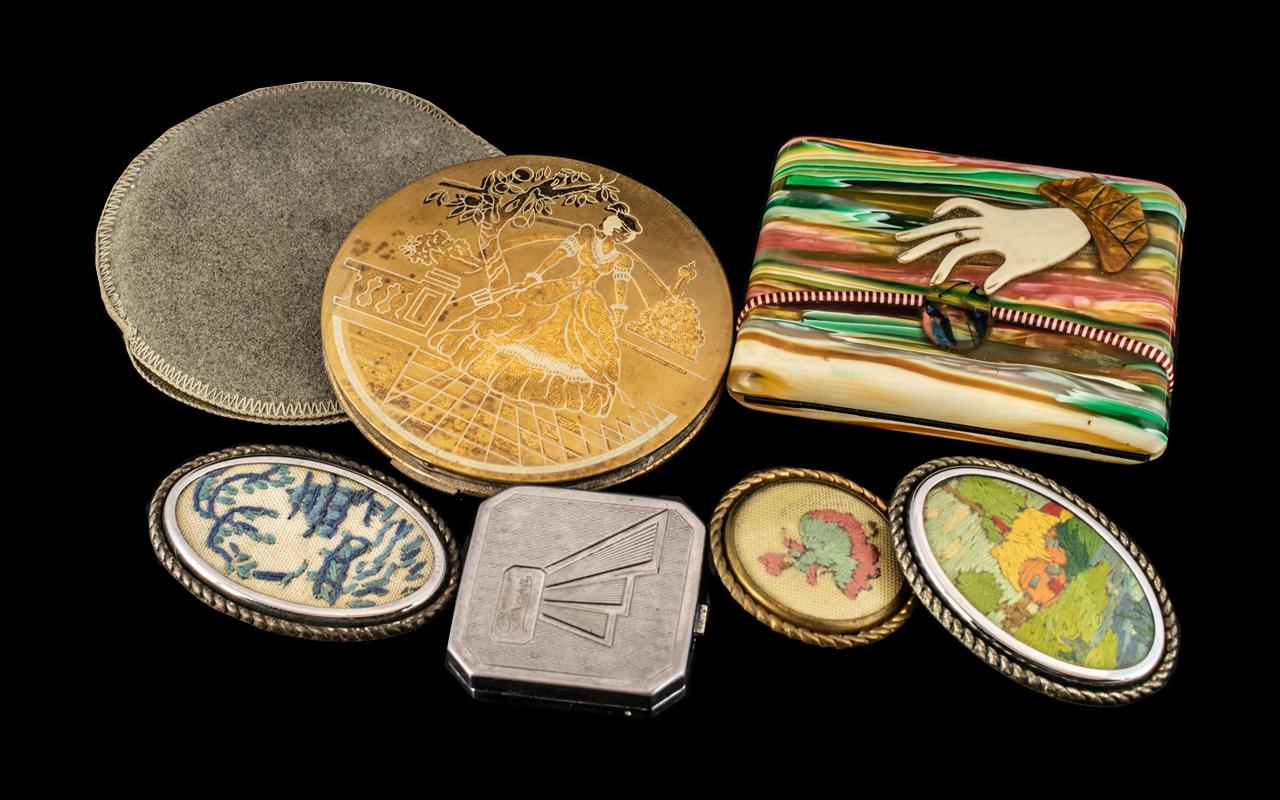 Art Deco Ladies Cigarette Case, in coloured stripe bakelite,