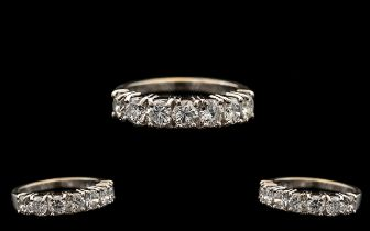 18ct White Gold - Excellent Quality 7 Stone Diamond Set Ring. Marked 750 to Interior of Shank.