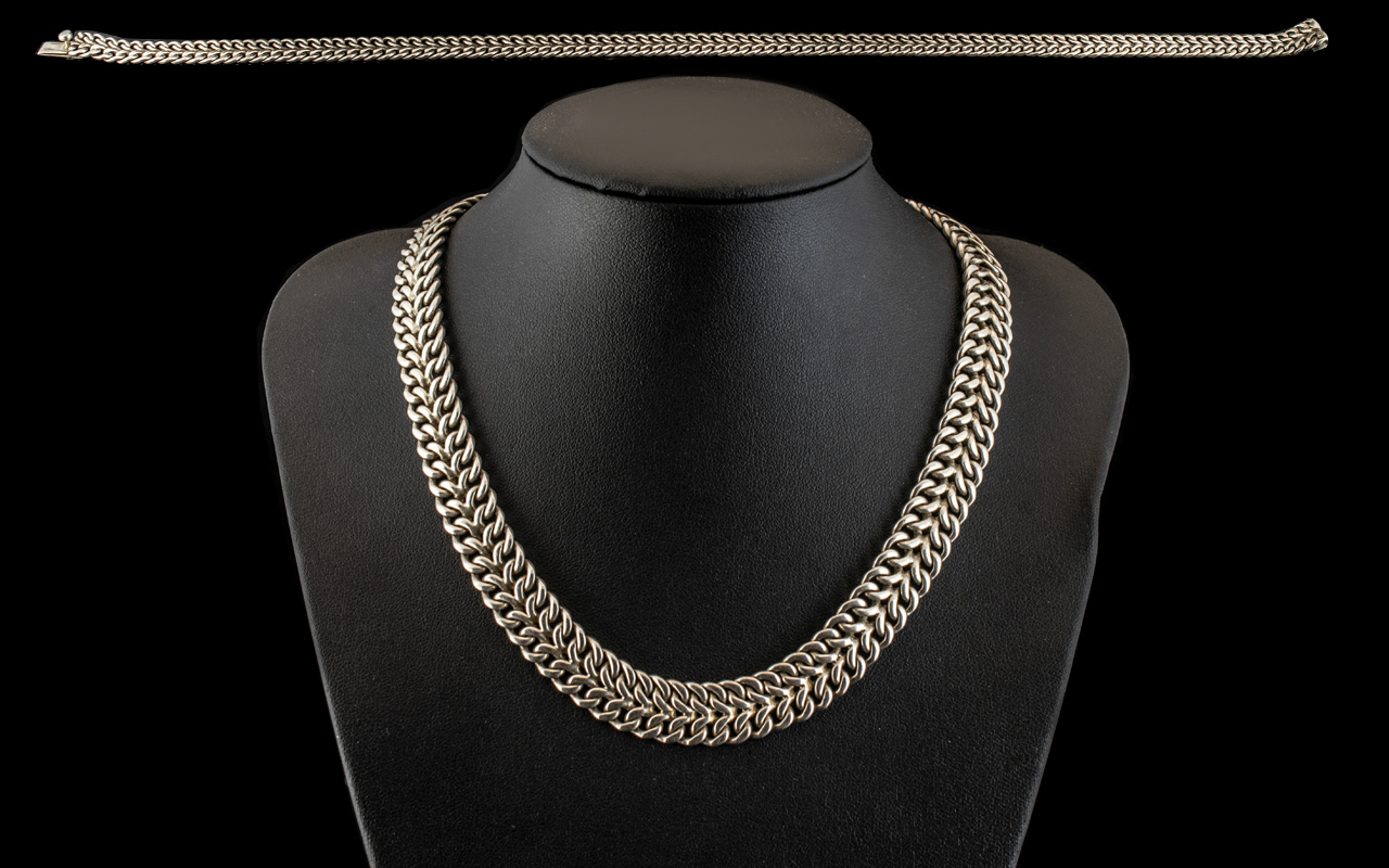 A Superior - Sterling Silver Vintage Double Basket Weave Necklace of Excellent Quality,
