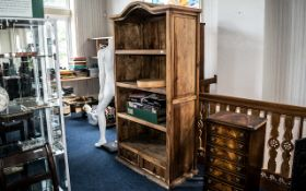 Two Well Constructed Very Heavy Pine Coloured Book Cases ( Matching Pair ) Heights Approx 78.
