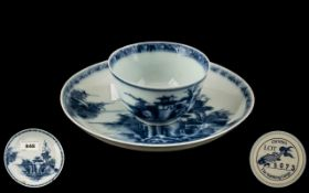 Nanking Cargo: Chinese 18th Century Tea Cup and Saucer, decorated in underglaze blue,