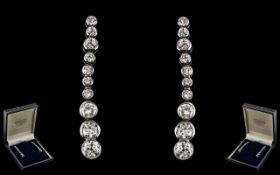 Edwardian Period Stunning 18ct White Gold Diamond Set Pair of Graduated Drop Earrings of Wonderful