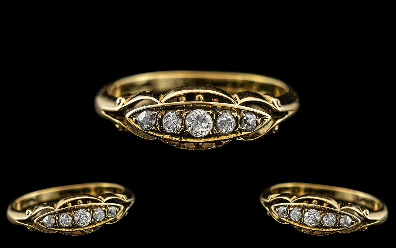 Antique Period 18ct Gold 5 Stone Diamond Ring. Marked 18ct to Interior of Shank. Ring Size P.