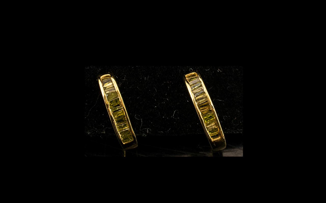 Yellow Diamond J-Hoop Earrings, baguette cut yellow diamonds, channel set down the front of the j-