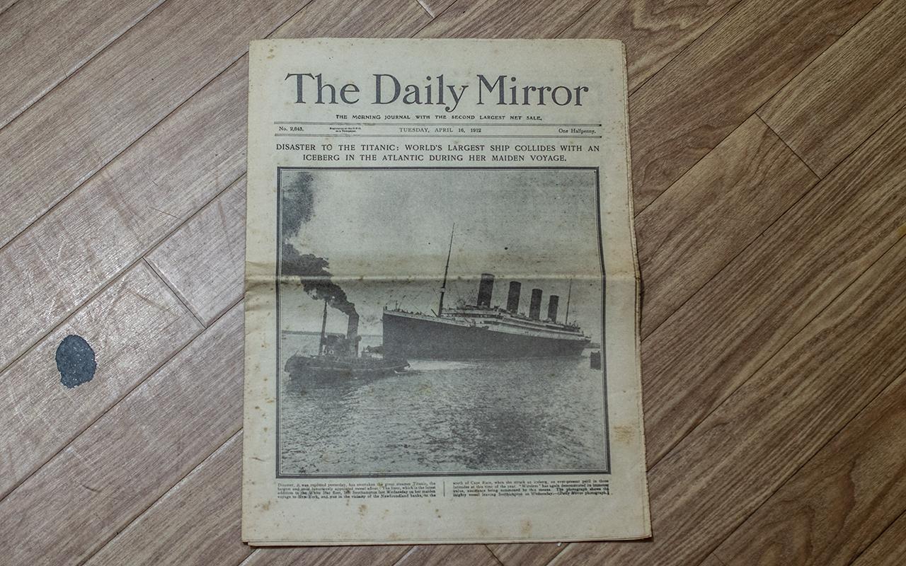 Titanic Interest: Original Daily Mirror Newspaper, Tuesday April 16th, 1912,