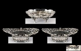 Edwardian Period Fine Pair of Open-worked Sterling Silver Bon Bon Dishes of Small Proportions.
