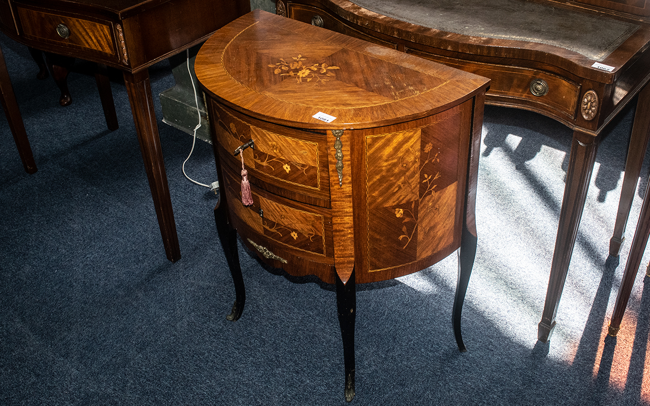 A French Demi Lune Two Drawer Inlaid Commode, chest of traditional form with small ormolu mounts, - Image 2 of 2