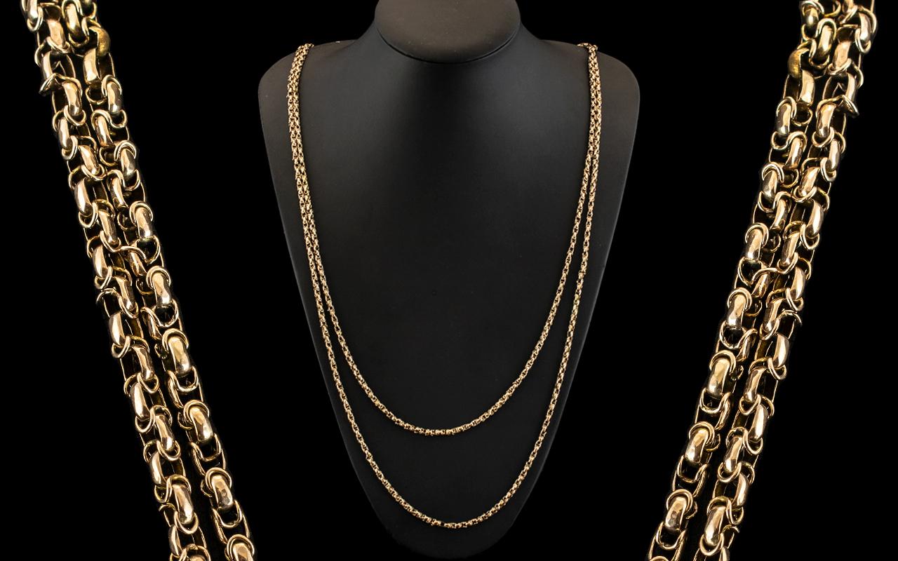 Antique Period 9ct Gold Wonderful Designed Muff Chain of Extra Length and Quality. c.1890 - 1900.