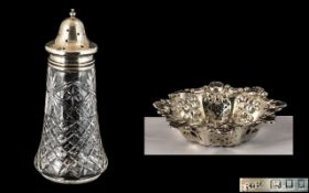 Cut Glass Silver Topped Sugar Caster, hallmarked London 1904, 7.5 inches (18.