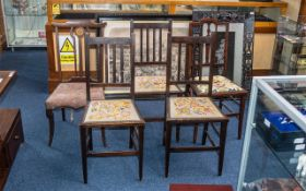 A Harlequin Set of Five Edwardian Mahogany Bedroom Chairs, with embroidered seats, terminating on
