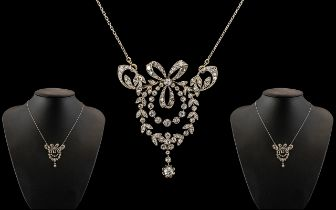 Edwardian Period 18ct White Gold Stunning and Exquisite Diamond Set Necklace - Pendant,