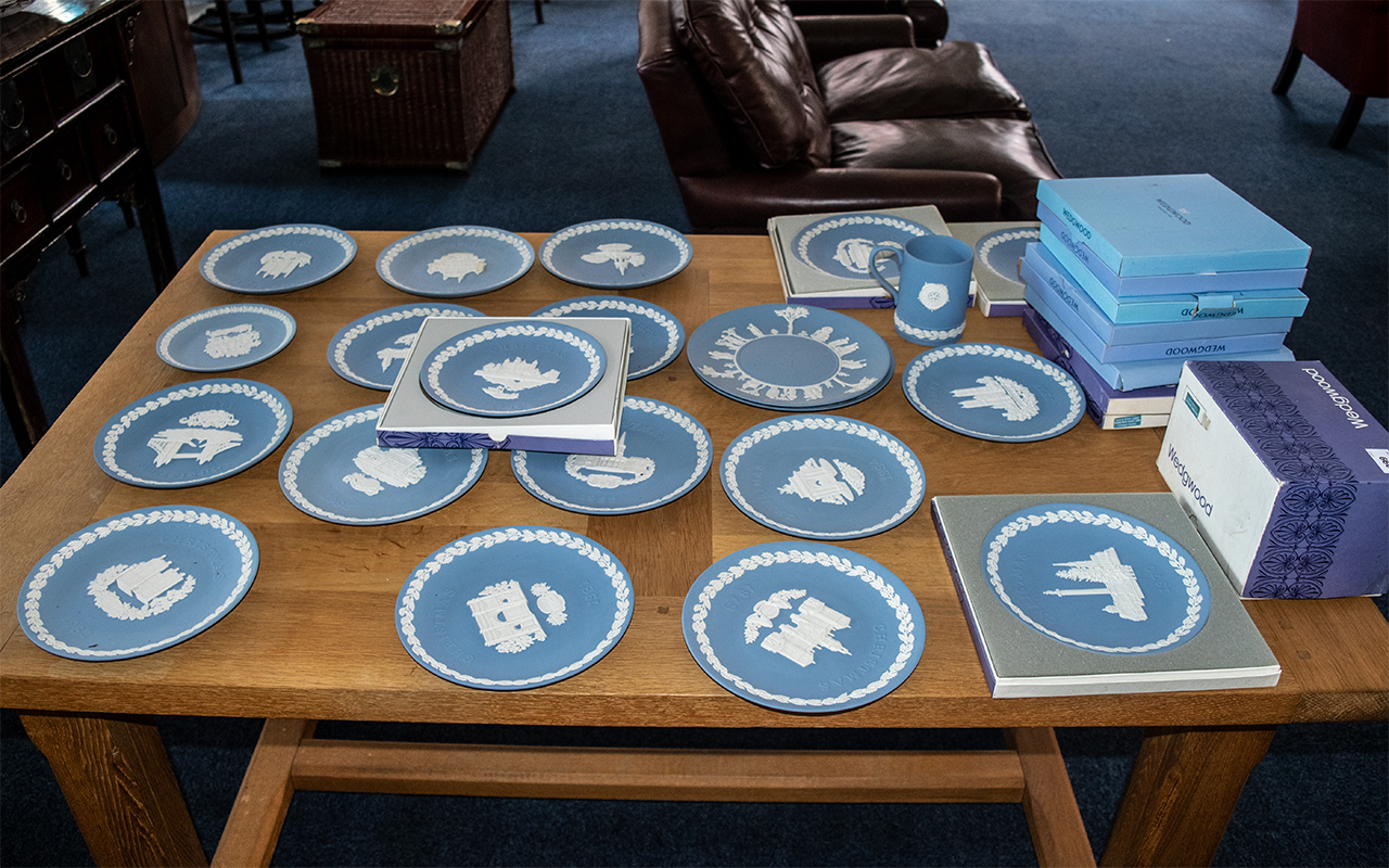 Large Collection of Wedgwood Jasper Pale Blue comprising Christmas Plates between 1969 and 1990,
