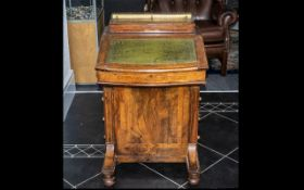 Victorian Walnut Davenport, good size with green leather insert, drawers to side and brass mounted