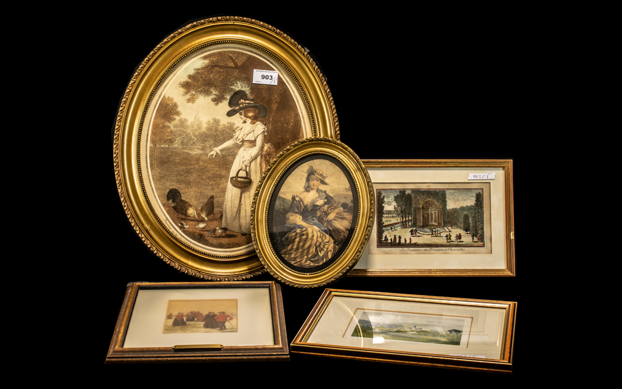 Miscellaneous Collection of Five Mounted and Framed Prints,