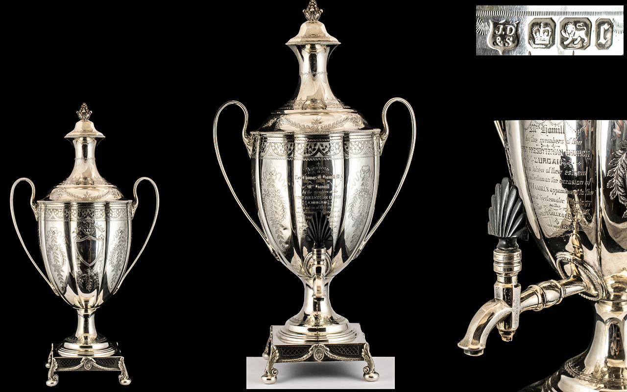 Victorian Period - Large and Magnificent Sterling Silver Twin Handle Trophy, Shaped Samovar,