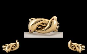 9ct Gold Impressive / Heavy Two Headed Snake Ring, Set with Ruby Eyes.