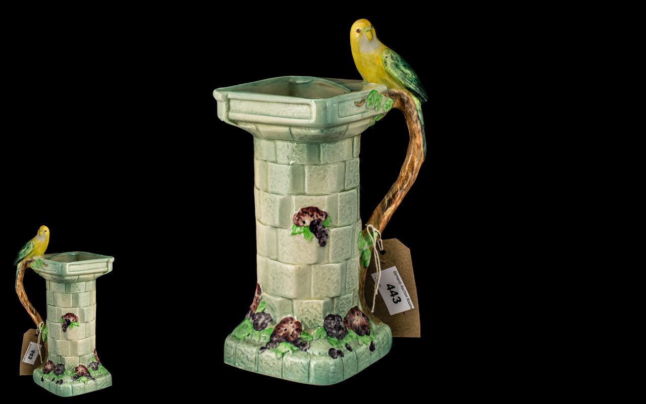 Art Deco Wade Pottery Jug, made in the shape of a pedestal with a yellow budgerigar to the handle,