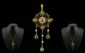 Victorian Period Stunning 15ct Gold Peridot and Seed Pearl Set Combined Pendant Drop - Brooch of