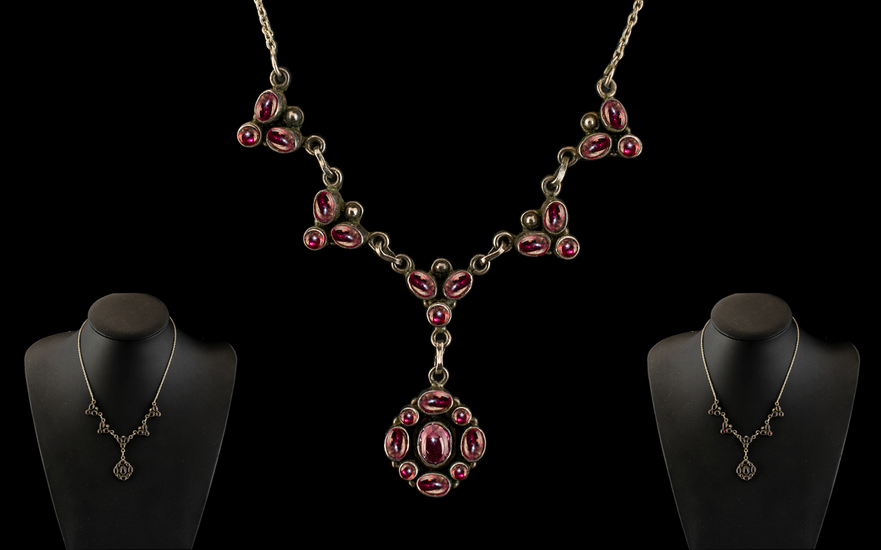 Ladies 1920's Sterling Silver Ornate Necklace Set with Cabochon Cut Garnets.