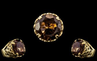 9ct Gold - Large and Impressive Single Stone Smoky Topaz Set Ring - Expensive Setting.
