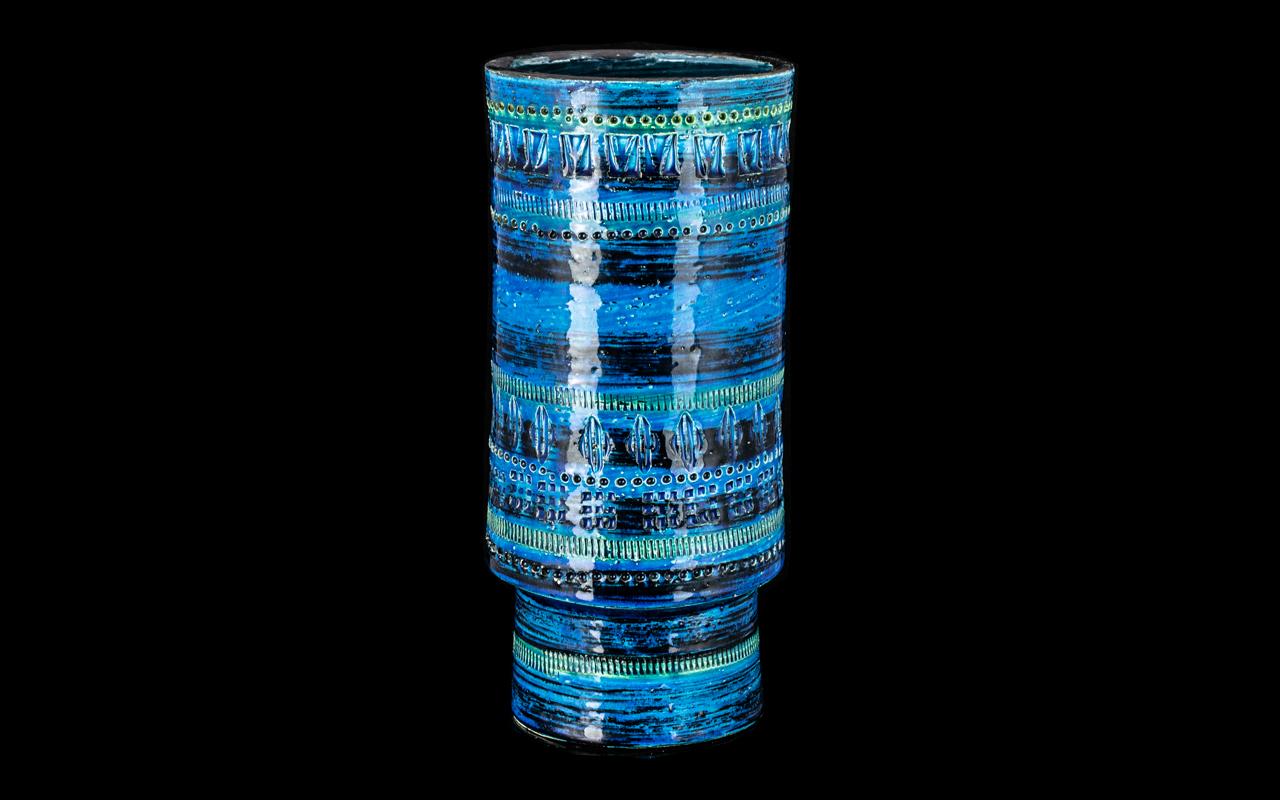 Italian 1960s Art Pottery Blue Glazed Vase with incised decoration; factory marks to base;