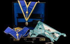Masonic Interest, leather suitcase full of Masonic aprons, medals etc.
