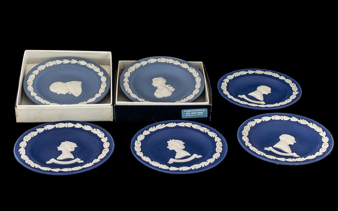 Wedgwood Blue Jasper - six commemorative round sweet dishes,