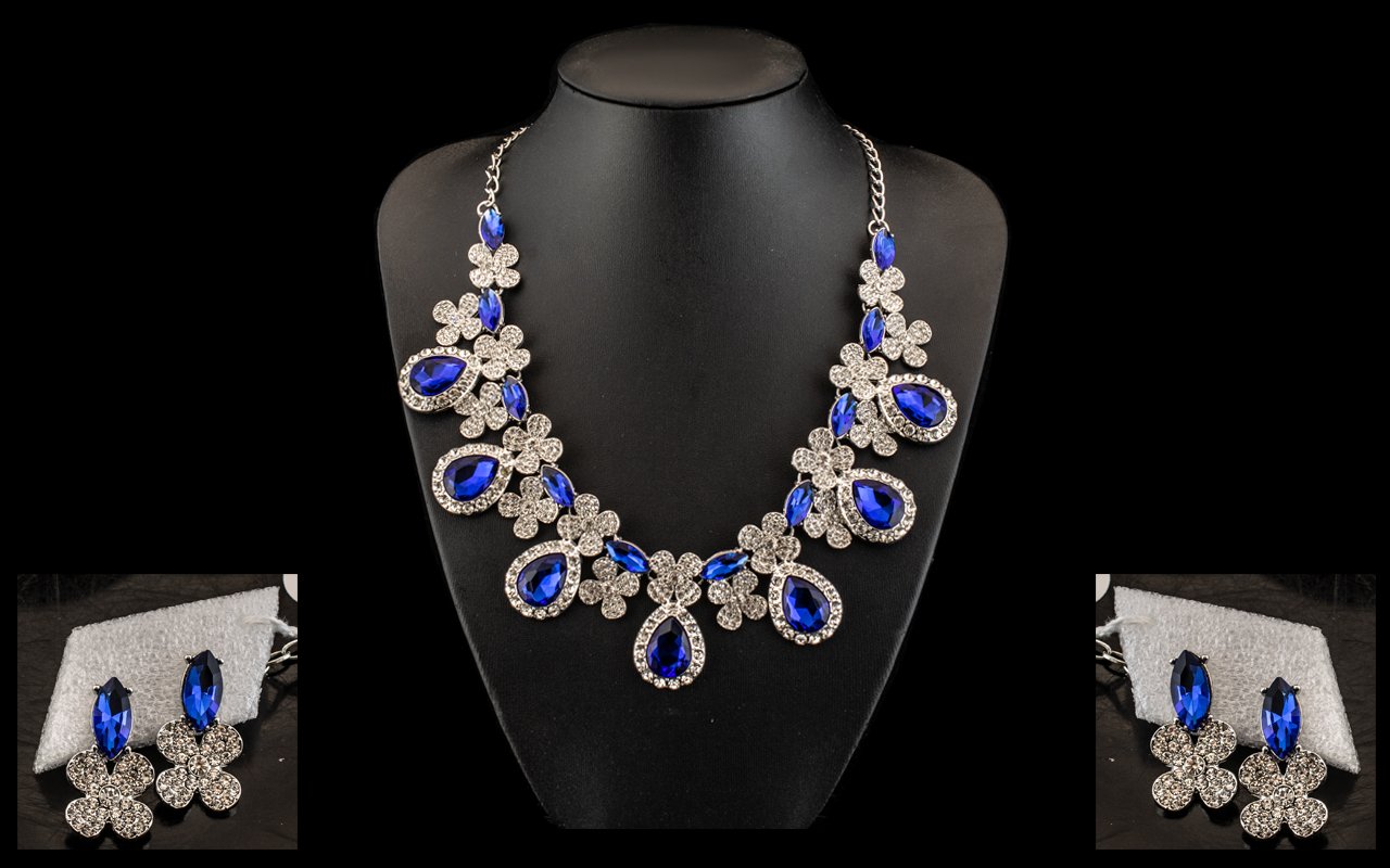 Sapphire Blue and White Crystal Collar Necklace and Earrings Set, large pear shape sapphire blue