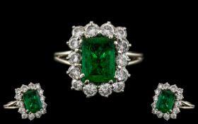 Art Deco Period - 18ct White Gold Stunning Emerald and Diamond Set Dress Ring. c1930's.