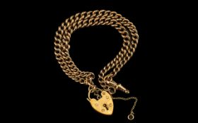 Antique Period - 9ct Gold Double Albert Bracelet with Heart Shaped Padlock. All Links Stamped 9.
