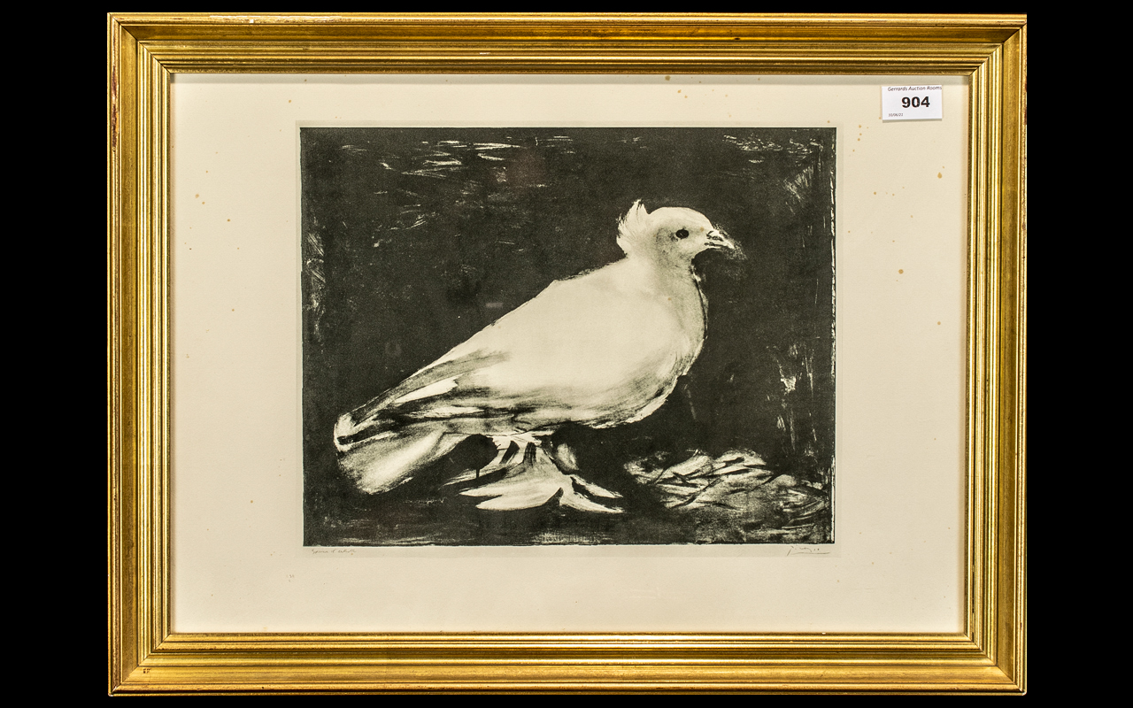 Picasso Print Titled 'The Dove', copy of the original Artist's Proof from 1949, produced in Paris,