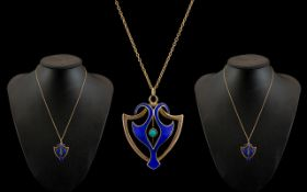Art Nouveau - Attractive and Superb 9ct Gold and Enamel Pendant Set with Turquoise to Centre of
