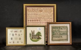 Collection of Four Samplers, comprising an alphabet sampler dated 1874, in frame, some staining,