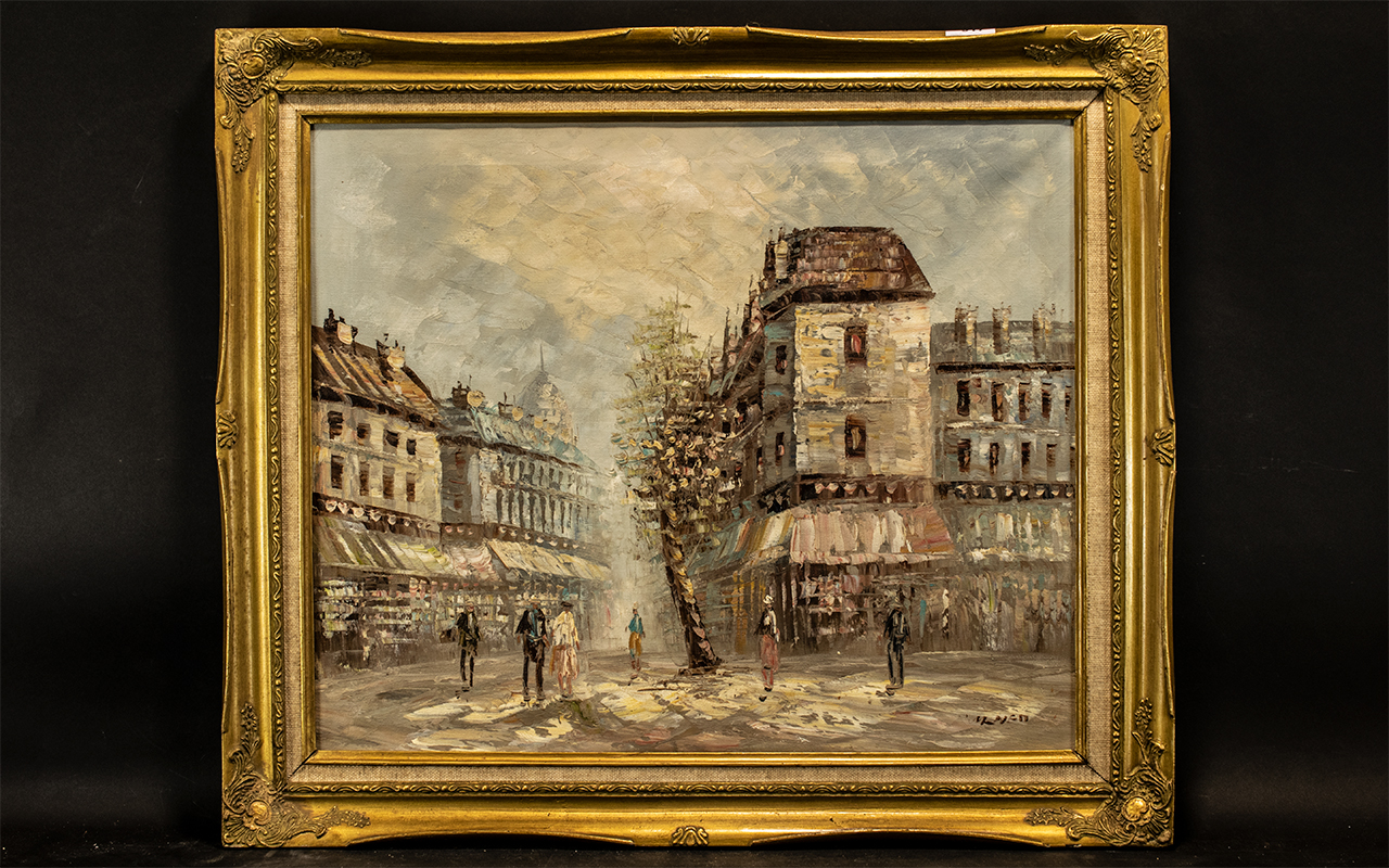 ' French Impressionist ' Oil on Canvas depicting a street scene with figures, in a gilt frame,