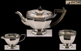 Edwardian Period Well Designed 3 Piece Singles Sterling Silver Tea-Service of Pleasing