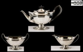 Sterling Silver 3 Piece Matched Tea Service of Excellent Design and Proportions.