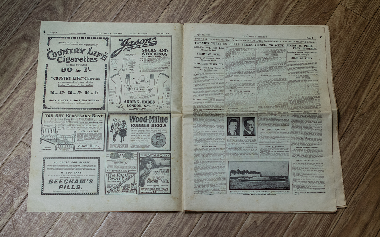 Titanic Interest: Original Daily Mirror Newspaper, Tuesday April 16th, 1912, - Image 2 of 2