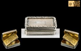 George III Superb Quality John Shaw Sterling Silver Hinged Vinaigrette with Gilt Interior and
