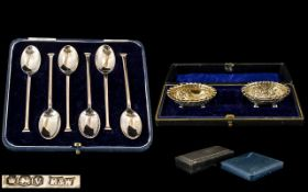 Victorian Period Pair of Sterling Silver Boxed Set of Salts - With Gilt Interiors.