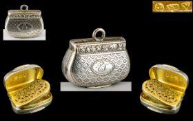 George III - Wonderful John Shaw Miniature Sized Sterling Silver Hinged Vinaigrette with Superb