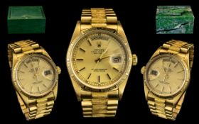 Rolex - 18ct Gold Oyster Perpetual Day-Date Chronometer Gents President Bracelet Wrist Watch.