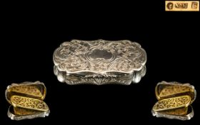 Nathaniel Mills Superb Sterling Silver Hinged Vinaigrette with Gilt Interior and Wonderful Open