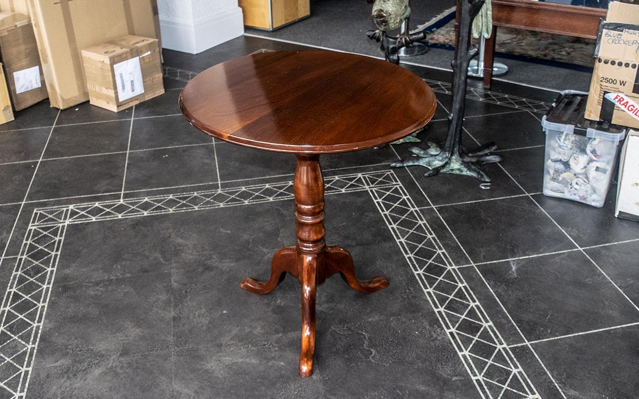 "Antique Tilt Top Dark Oak Table, measures 29"" (74 cm) high and 27"" (68 cm) diameter approx. - Image 2 of 3"