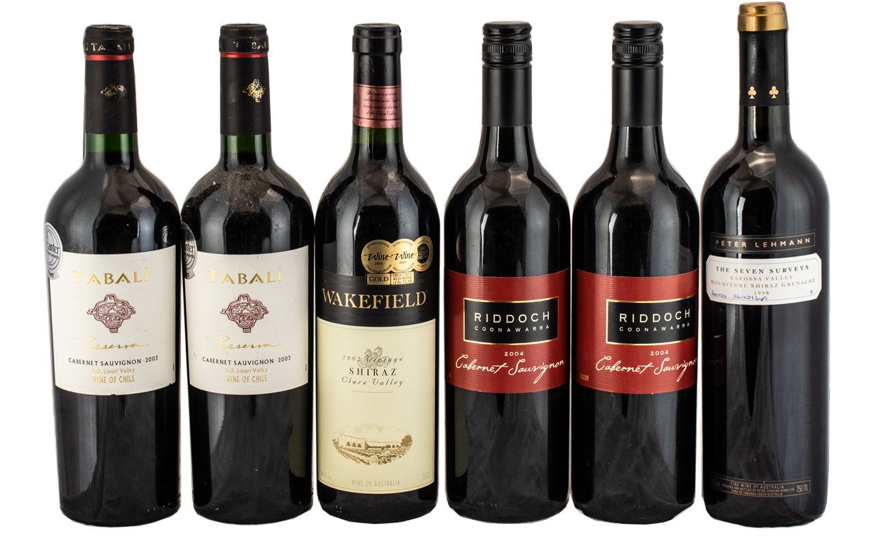 A Good Collection of Assorted Vintage Wines ( 6 ) Bottles In Total.