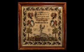 Large Victorian Sampler dated 1860, finely executed by Mary Oliver, aged 10 years,