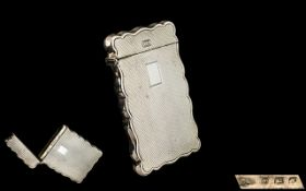 Sterling Silver 1930's Nice Quality Shaped Ladies Hinged Card Case with Vacant Cartouche.